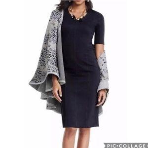 EUC CAbi Claire Ponte black shift dress